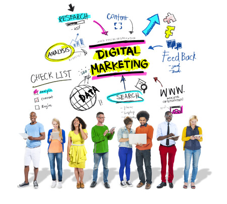 kommunikation: Digital Marketing Branding Strategy Online Media Concept Stockfoto