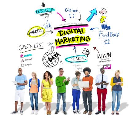 Digital Marketing Markenstrategie Online Media Concept Standard-Bild