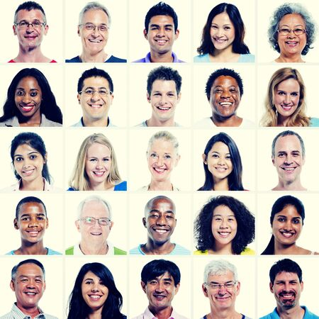 community: Protrait of Group Diversity People Community Happiness Concept Stock Photo