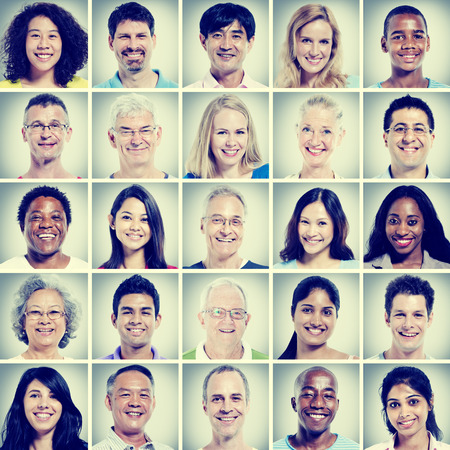 CLOSE UP FACE: Protrait of Group Diversity People Community Happiness Concept Stock Photo