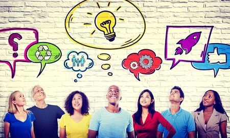 casual people: Diversity Casual People Ideas Aspiration Social Media Concept
