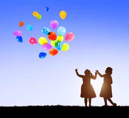 cheerful: Balloon Children Child Childhood Cheerful Leisure Concept