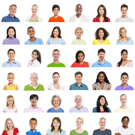 personas de pie: Diversidad �tnica diversa Etnia Variaci�n Unidad Concepto Foto de archivo