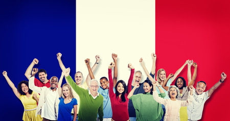 french ethnicity: Group of Multi-Ethnic People Celebrating France Friendship Concept