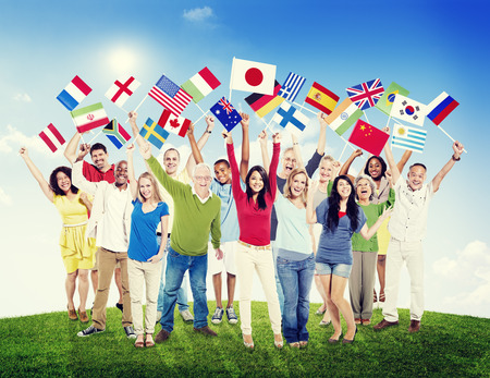 ethnic diversity: Multi-Ethnic Group of People Holding National Flags Friendship Concept