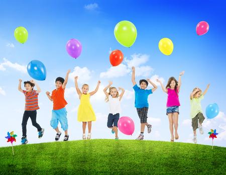healthy lifestyle: Children Kids Fun Summer Balloon Celebration Healthy Lifestyle Stock Photo