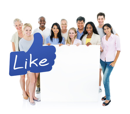 facebook: Multi-ethnical people standing and holding an empty placard with like button.