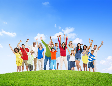 happiness or success: People Celebration Multiethnic Group Happiness Success Concept