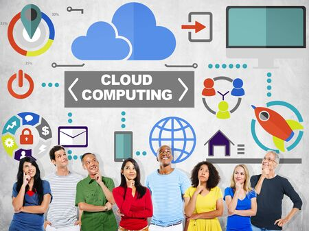 global thinking: People Thinking Togetherness Global Communications Cloud Computing Concept