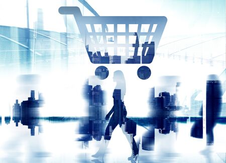 Home Finance Shopping Cart Cityscape Retail Store Concept photo