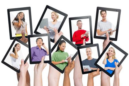 Diversidad Manos Dispositivos Digitales Comunicación Variación Concepto