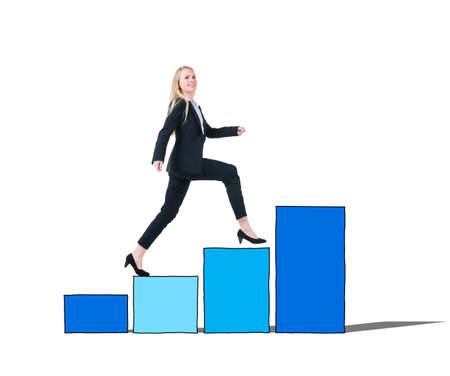 moving up: Businesswoman on a Bar Graph Moving Up
