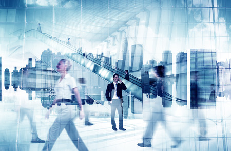 group of business people: Business People City Standing Out From The Crowd Concept Stock Photo