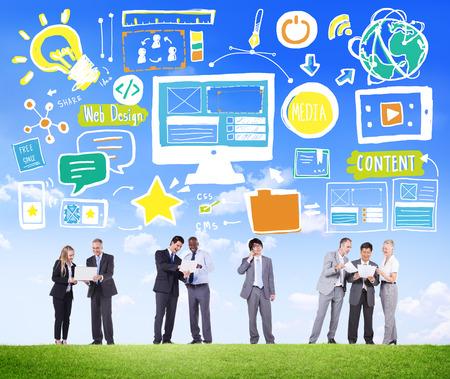 Diversiteit Zakenmensen Web Design Content Discussion Concept