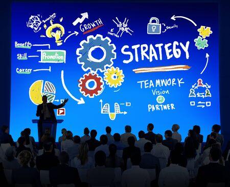 Strategie Oplossing Tactiek Teamwork Growth Vision Concept
