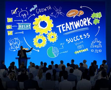 Teamwork Team Together Collaboration Business Seminar Presentation Concept photo