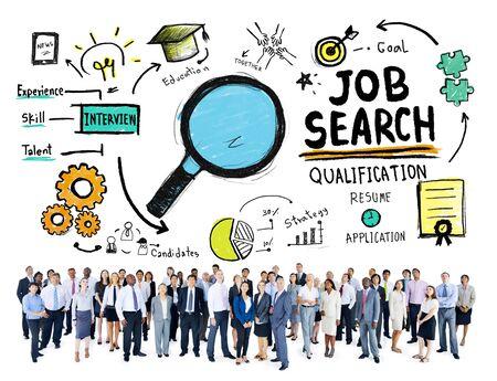 puesto de trabajo: Gente de negocios Discusi�n Aspiraci�n Job Search Concept