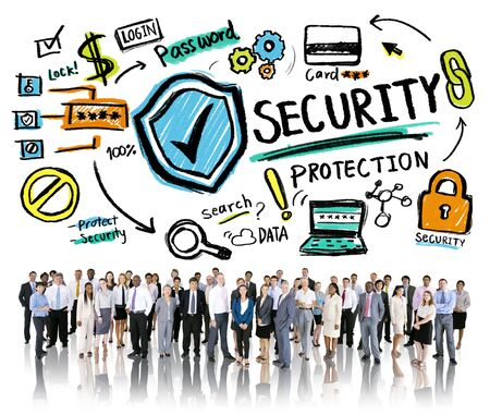 security protection: Ethnicity Business People Security Protection Corporate Concept