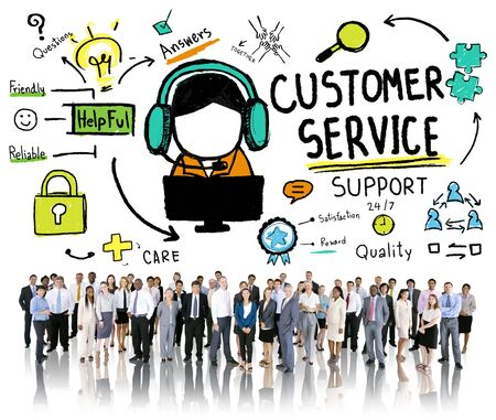 center: Customer Service Support Assistance Service Help Guide Concept