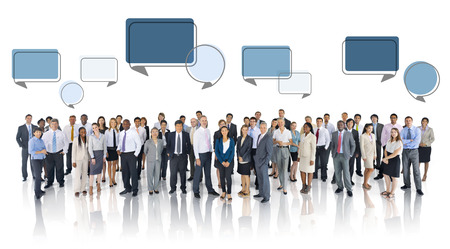 multi age: Multiethnic Group of Business People with Speech Bubbles Stock Photo