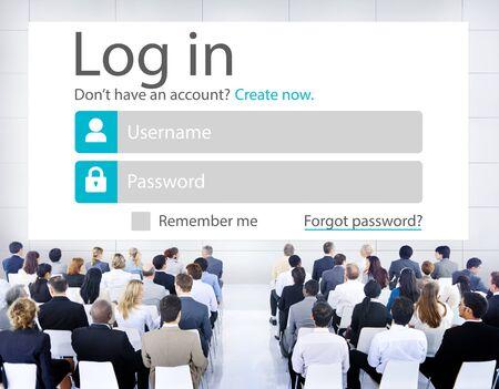 membership: Business People LogIn Security Protection Seminar Concept