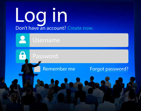 Business People LogIn Security Protection Seminar Concept photo