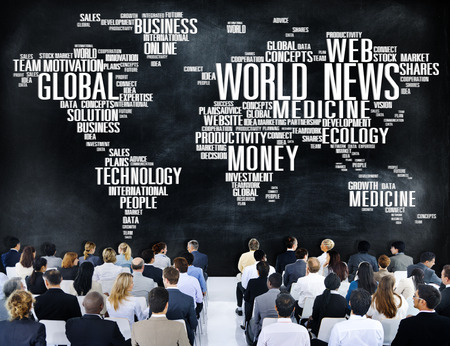 world news: World News Globalization Advertising Event Media Infomation Concept Stock Photo