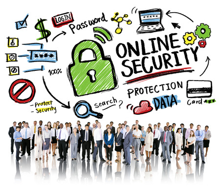 online security: Online Security Protection Internet Safety Business People Concept