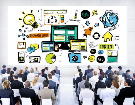 Business People Responsive Design Technology Seminar Concept photo