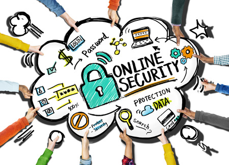 support team: Online Security Protection Internet Safety Support Team Concept Stock Photo