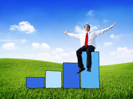 happiness or success: Businessman Success Performance Growth Improvement Business Victory Happiness Stock Photo