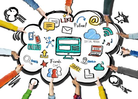 internet search: Social Media Connection Internet Online Global Communications Concept