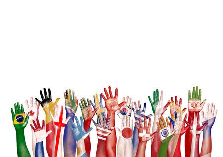 Handen van de Vlag van het Symbool divers diversiteit Etnische Afkomst Unity Concept