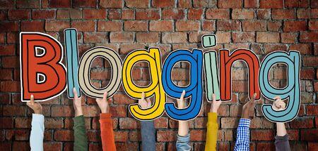 blog: Diverse Hands Holding the Word Blogging