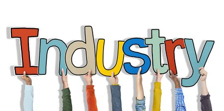 single word: Industry Hands Holding Single Word Concept