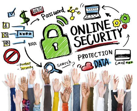online security: Online Security Protection Internet Safety Hands Volunteer Concept