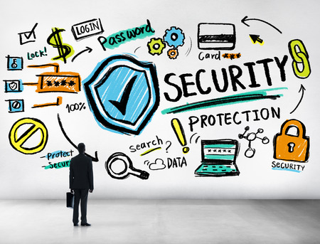 security protection: Businessman Looking up Security Protection Firewall Concept