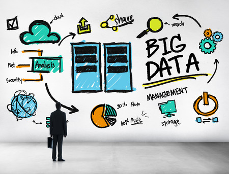 looking up: Businessman Big Data Management Looking Up Concept