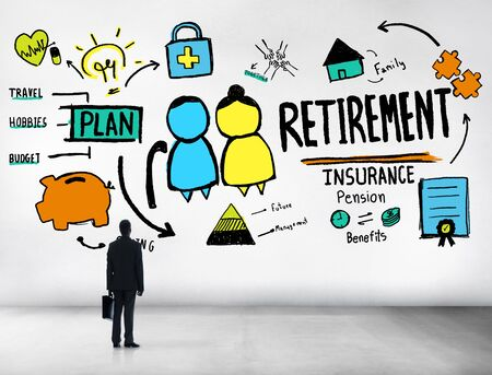 qualification: Businessman Retirement Looking Up Qualification Occupation Concept Stock Photo