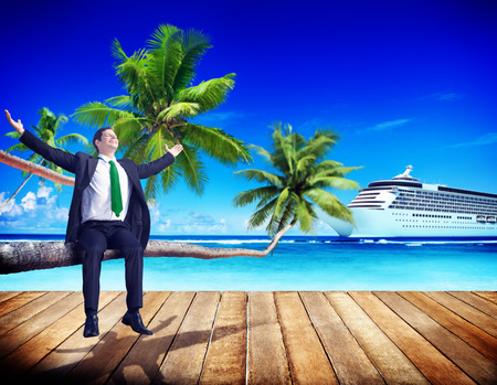 business travel: Businessman Business Travel Beach Working Relaxing Concept