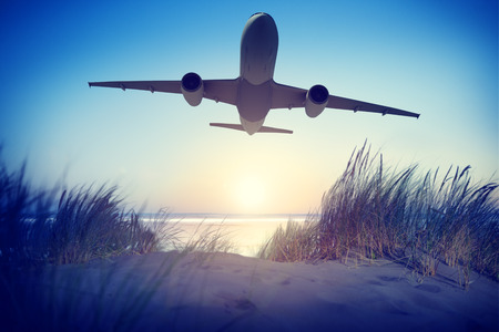 travel industry: Airplane Travel Destination Outdoors Concept