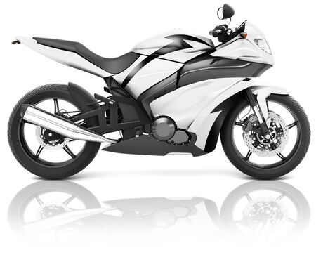propulsion: Motorcycle Motorbike Bike Riding Rider Contemporary White Concept Stock Photo