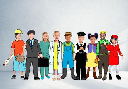Children Kids Dream Jobs Diversity Occupations Concept Stock Photo