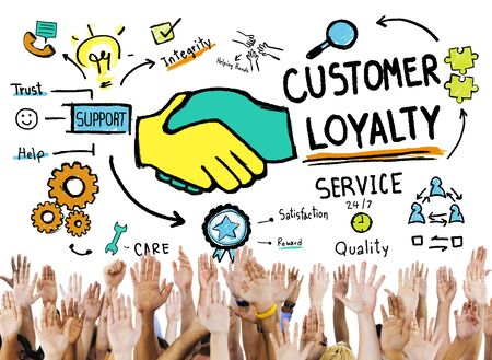 reach customers: Customer Loyalty Service Support Care Trust Hand Concept