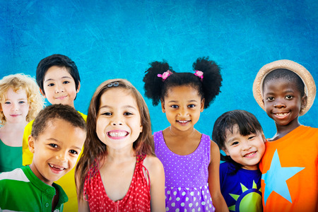 child education: Diversity Children Friendship Innocence Smiling Concept Stock Photo