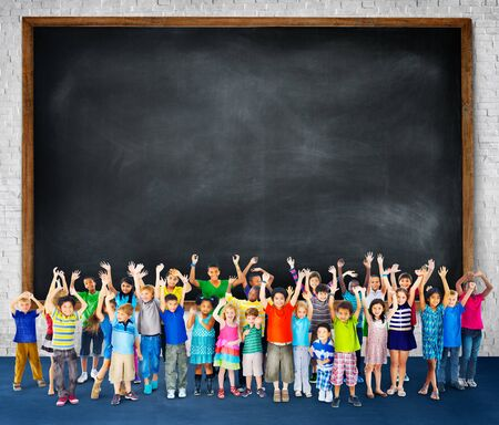 child girl: Multi-Ethnic Group of Children Holding Empty Billboard Stock Photo