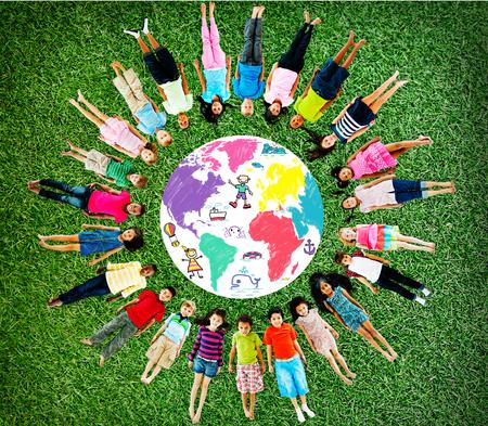 girl lying down: World Kids Journey Adventure Imagination Travel Concept