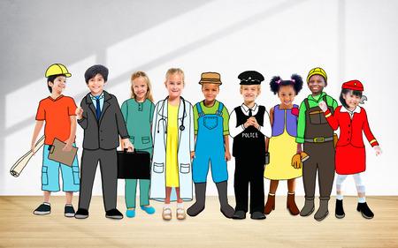 flight steward: Children Kids Dream Jobs Diversity Occupations Concept Stock Photo