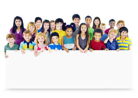 Multi-Ethnic Group of Children Holding Empty Banner