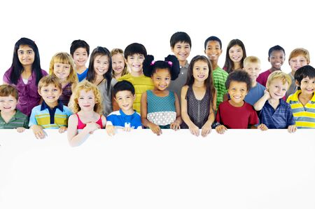 ethnic people: Multi-Ethnic Group of Children Holding Empty Billboard Stock Photo